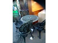 METAL TABLE 4 CHAIRS