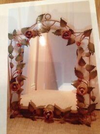 REDUCED - decorative Metal Rose Mirror