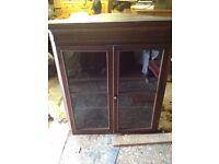 Oak top corner glass cupboard