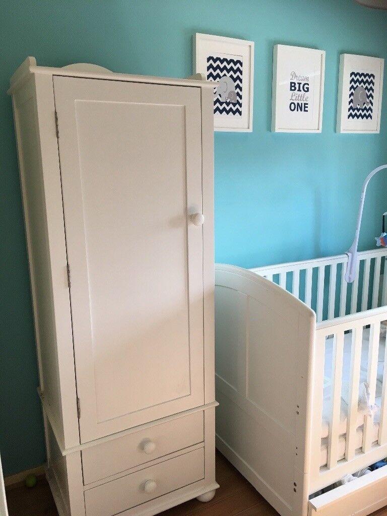 Beautiful White Single Door Nursery Wardrobe