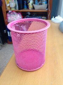 Pink metal pen pot