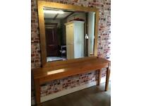 Beautiful large gold bevelled mirror from Harrods and elegant hall retro table 153cm L