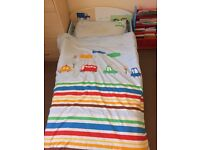 Toddler (Boy) Car Bed, Waterproof Mattress, Bedding and Curtains (All in car theme)