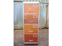 Industrial storage dresser, metal chest of 4 drawers, vintage steel re-purposed filing cabinet