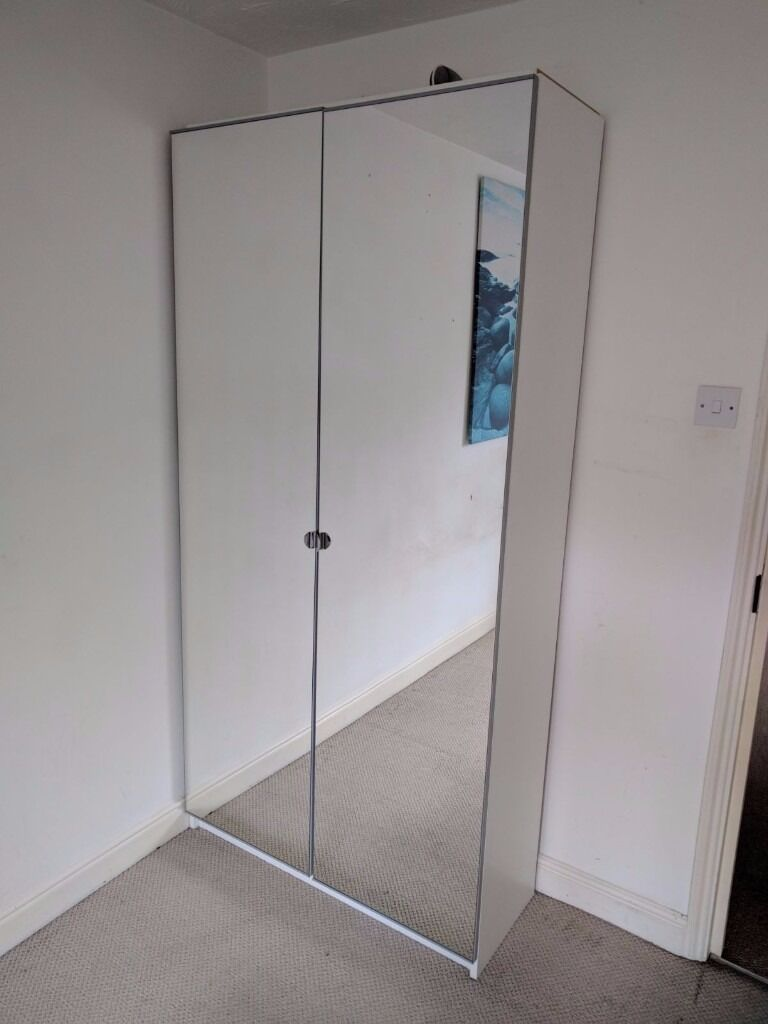 Ikea Wardrobe Pax Vikedal 201x100x38 With 2 Mirror Doors