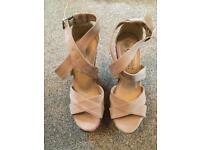 Suede strapped size 5 wedges