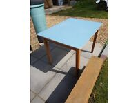 Blue formica 1960's kitchen table