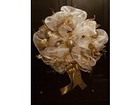 Stunning handcrafted Christmas Wreath, cream with gold ribbons and embellishments