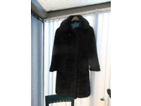 LADIES FAUX FUR COAT - LARGE / Very Good Condition