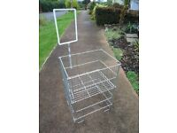 METAL DUMP BIN / BASKET ~ WITH POS HOLDER ~ IDEAL RETAIL ITEM ~ EXCELLENT CONDITION.