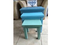 Nest of 3 solid wood tables painted with Annie Sloan chalk paint and finished with clear wax
