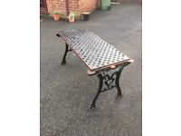 Full Cast Iron Garden Furniture Set - Table, 2 Benches, Parasol Base- can deliver