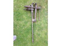 Antique blacksmiths large leg vice
