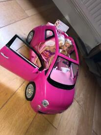 BARBIE CONVERTIBLE CAR WITH X2 ORIGINAL BARBIE DOLLS