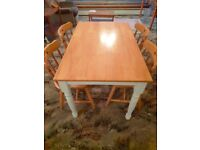 Solid Pine Dining Table and 4 Four Matching Chairs - Pine Wood Wooden Living Room Furniture