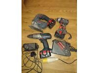 Used Bosch 14,4v hammer drill, impact driver, jigsaw, charger