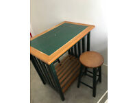 Breakfast Bar Dining Set - Kitchen Table and 2 Stools Green Tile Top & Wood