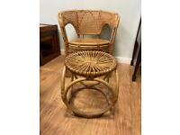 Vintage whicker bamboo arm chair & footstool
