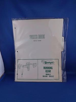 BADGER RUNNING GEAR PARTS BOOK MODELS BN1408 BN1612 FARM EQUIPMENT REPAIR