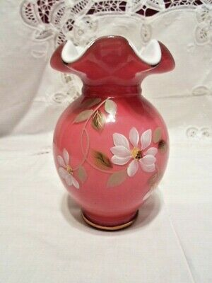 Fenton #7688 Wild Rose Mothers Day 2005 100th Anniversary Vase - #34 of 1500
