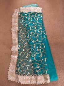 Turquoise green saree