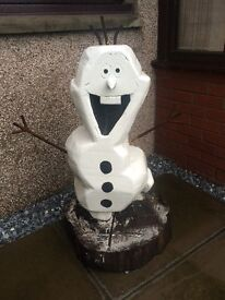 Olaf chainsaw sculpture