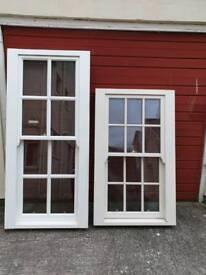 2 timber sash and case windows
