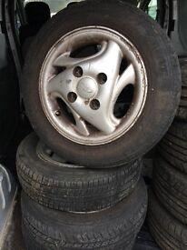 "X4 daewoo matiz alloy wheels and tyres 13"""