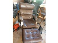 Scandinavian leather chairs plus footstool