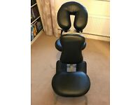 Portable 2 Section Massage Table cream + Black Adjustable Portable Head Massage Chair.