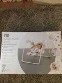 Baby swing chair, brand new set up and used once, excellent condition.