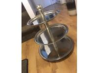 STAINLESS STEEL PROFESSIONAL CUPCAKE CUP CAKE / FOOD STAND THREE TIER