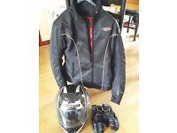 Ladies Motorbike Jacket, Helmet and Gloves