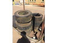 Old forklift tyres