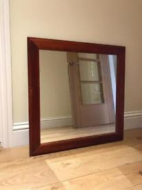 Large wooden square mirror (75cm)