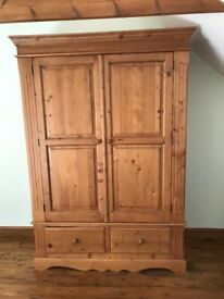 Antique Pine Large Double Wardrobe with Drawers