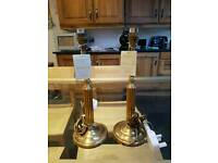 Brand new pair of Laura Ashley antique brass lamp bases and matching shades