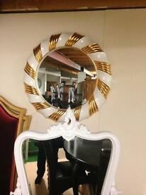 Round white and gold mirror £100