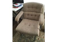 2 SUPER COMFORTABLE desk chairs or armchairs- buy 1 or both- vintage mid-century 70s chrome wool