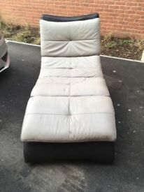 Grey Leather Chaise Longue