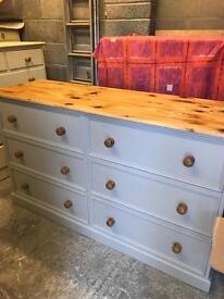 Refurbished Solid Pine Large Chest of Drawers/Sideboard/Dresser