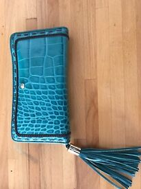 LANCEL purse - blue-green colour / croco pattern / leather / lots of storage