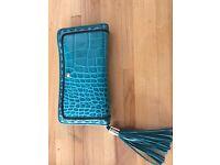 LANCEL purse - blue-green colour / croco pattern / leather / lots of storage