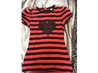 Next next Black and red love heart tshirt size 8