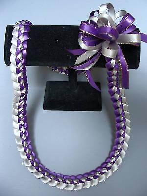 Hawaiian Braid Metalic Edge Ribbon Lei Purple Sillver