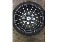 "Black with polished face Alloy wheels 17"" inch x 7j 4x108 4x100 205 40 17 Saab 900 9000 Volvo 850"