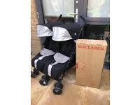 Maclaren Twin Techno stroller and Carrycot black, excellent conditions as hardly used