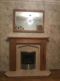Fire surround with marble inset - oak