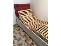 Electric adjustable single bed with headboard