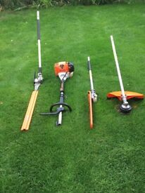 STIHL KM130R PROFESSIONAL KOMBI + HEDGE TRIMMER, STRIMMER AND PRUNER ATTACHMENTS IN IMMACULATE COND